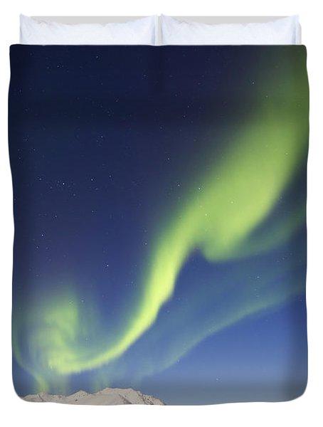 Aurora Borealis With Moonlight Duvet Cover by Joseph Bradley