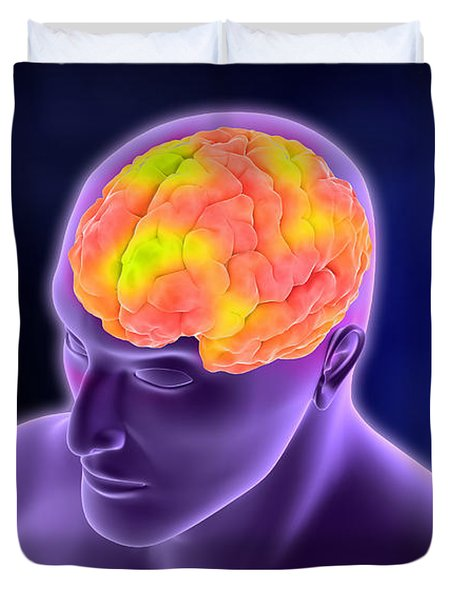 Conceptual Image Of Human Brain Duvet Cover by Stocktrek Images