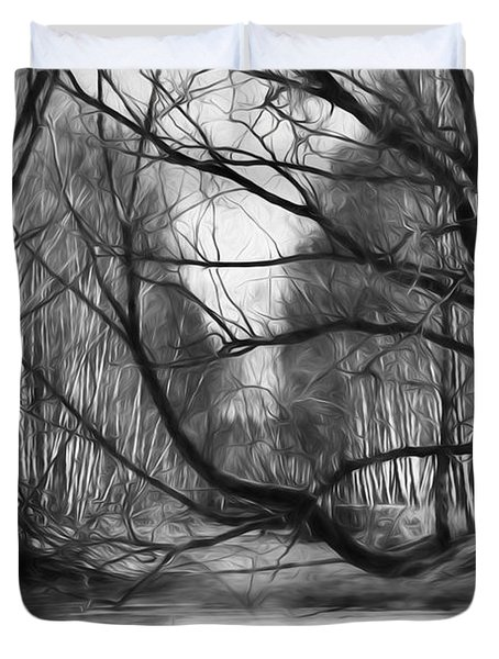 Duvet Cover featuring the photograph 9 Black And White Artistic Painterly Icy Entrance Blocked By Braches by Leif Sohlman