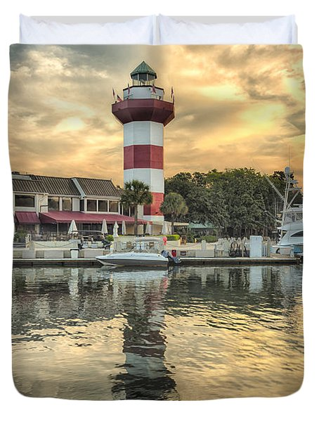 Lighthouse On Hilton Head Island Duvet Cover by Peter Lakomy