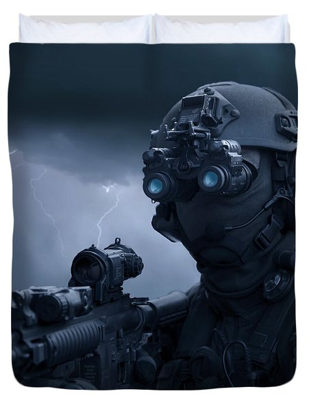 Special Operations Forces Soldier Duvet Cover by Tom Weber