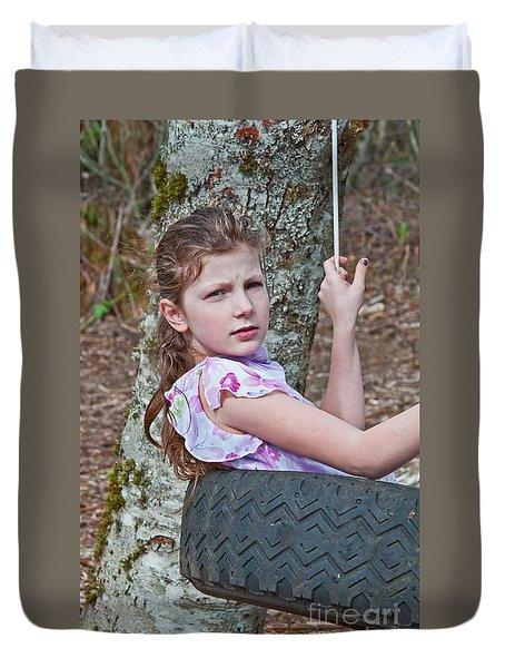 9 Year Old Caucasian Girl In Tire Swing Duvet Cover