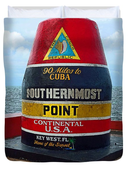 Southernmost Point Key West - 90 Miles To Cuba Duvet Cover