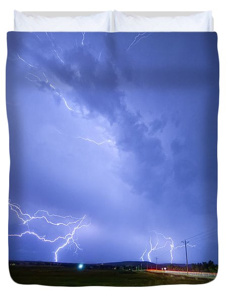 95th And Woodland Lightning Thunderstorm View Duvet Cover