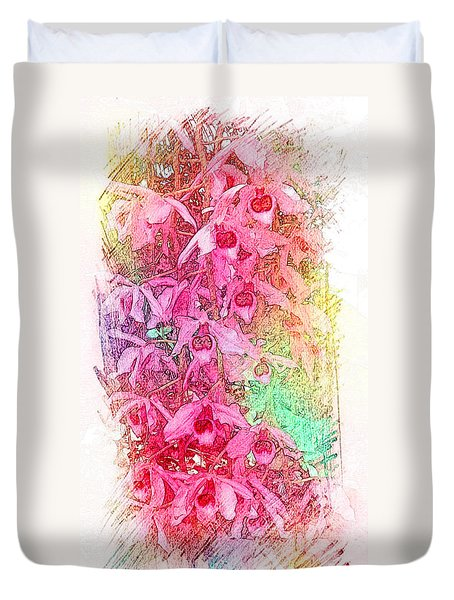Pink Pretty Orchids Duvet Cover