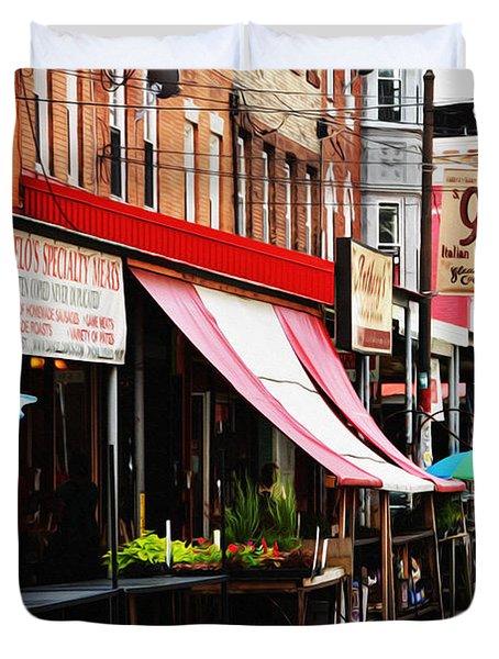 9th Street Italian Market Philadelphia Duvet Cover by Bill Cannon