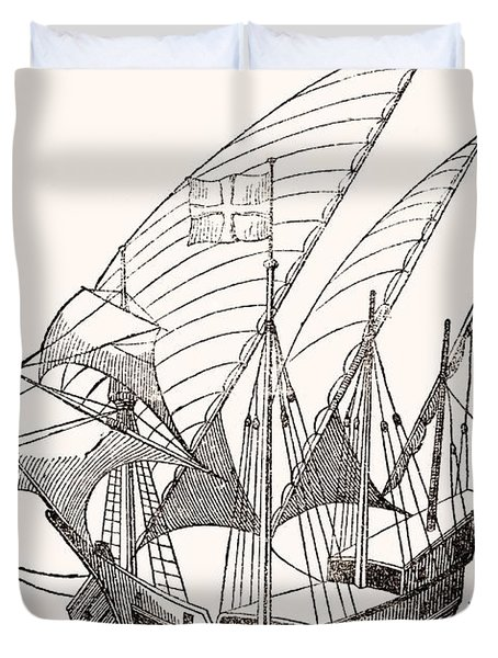 A 15th Century Caravel  Duvet Cover