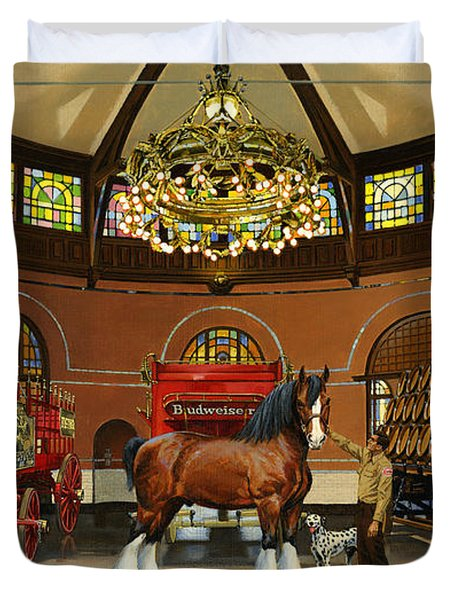 St. Louis Clydesdale Stables Duvet Cover