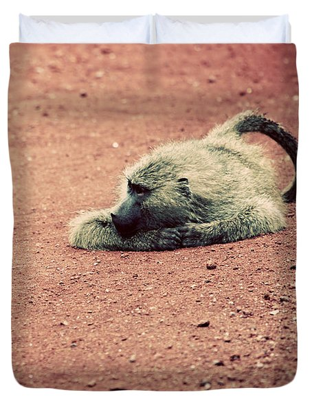 A Baboon On African Road Duvet Cover by Michal Bednarek