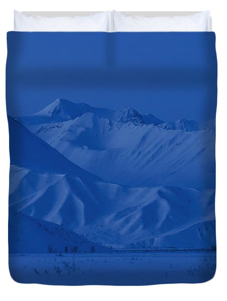 A Backpacking Tent Lit Up At Twilight Duvet Cover