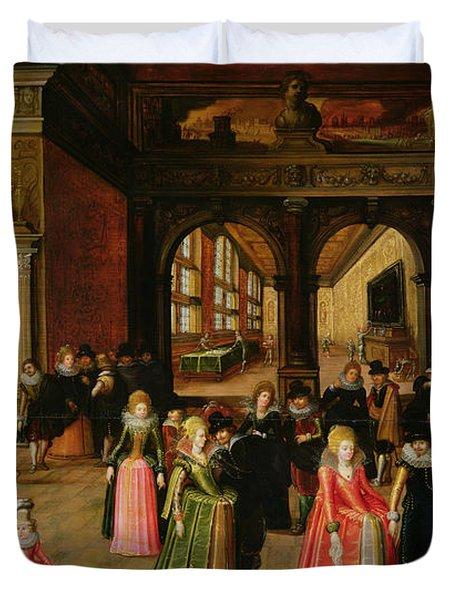 A Ball During The Reign Of Henri Iv Oil On Panel Duvet Cover