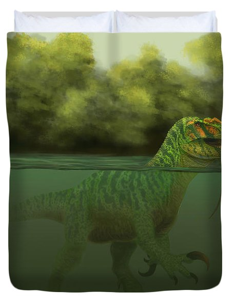 A Baryonyx Escapes Swimming Duvet Cover by Alvaro Rozalen