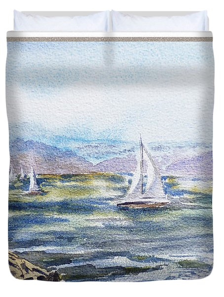 A Bay View Window Rough Waves Duvet Cover