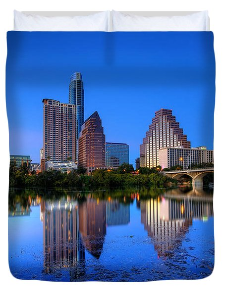 Duvet Cover featuring the photograph A Beautiful Austin Evening by Dave Files