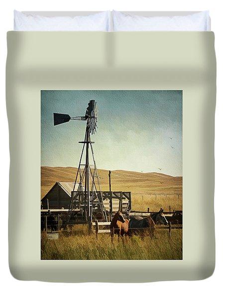 A Beautiful Nebraska Sandhills Farm Duvet Cover by Priscilla Burgers