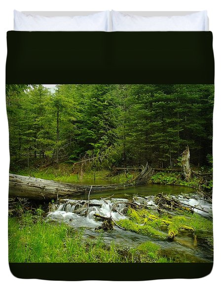 A Beaver Dam Overflowing Duvet Cover by Jeff Swan