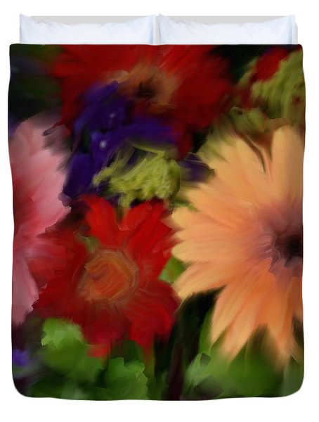 A Bed Of Flowers Duvet Cover