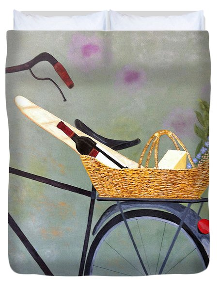 A Bicycle Break Duvet Cover by Brenda Brown