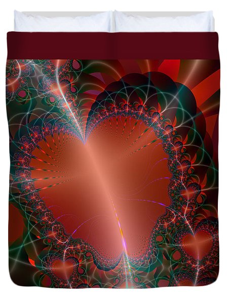 Duvet Cover featuring the digital art A Big Heart by Ester  Rogers