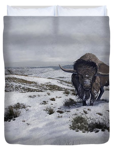 A Bison Latifrons In A Winter Landscape Duvet Cover by Roman Garcia Mora