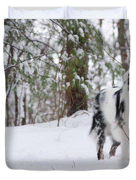 A Black And White Australian Shepherd Duvet Cover
