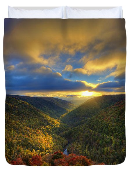 A Blue And Gold Sunset Duvet Cover