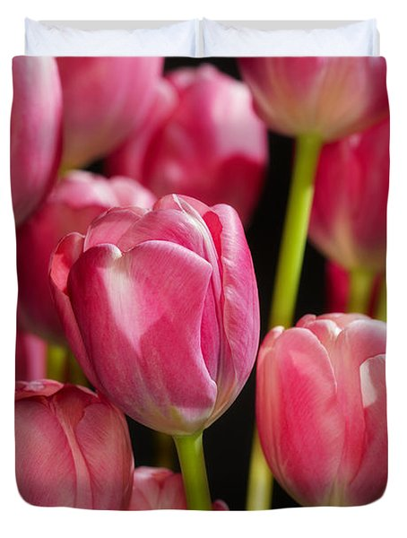 A Bouquet Of Pink Tulips Duvet Cover