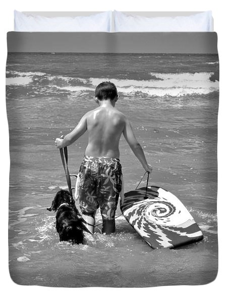 A Boy And His Dog Go Surfing Duvet Cover by Kristina Deane