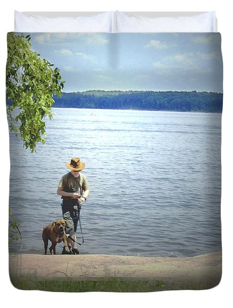 A Boy And His Dog Duvet Cover by Sandra Clark