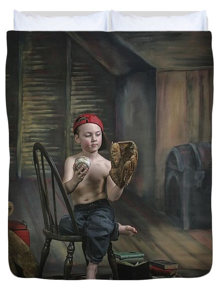 A Boy In The Attic With Old Relics Duvet Cover by Pete Stec