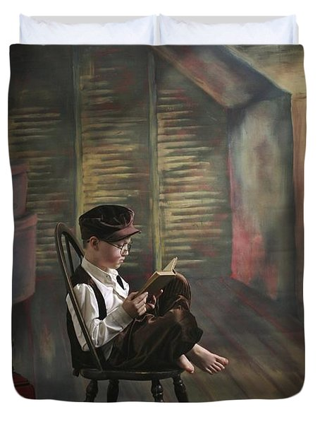 A Boy Posed Reading Old Books Victoria Duvet Cover by Pete Stec