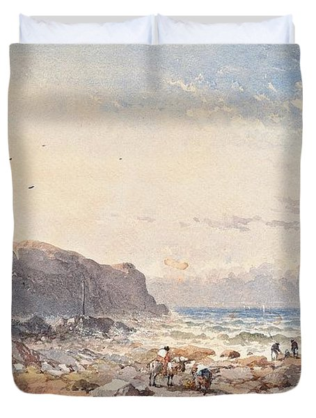 A Breezy Day With Fisherfolk On The Foreshore Duvet Cover