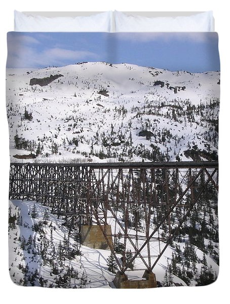 Duvet Cover featuring the photograph A Bridge In Alaska by Brian Williamson