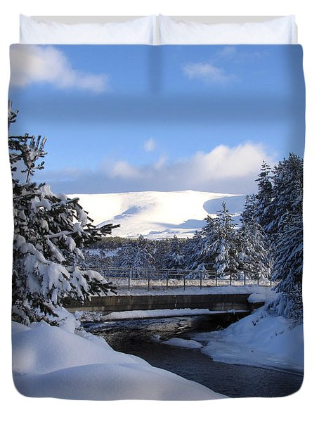 A Bridge In The Snow Duvet Cover