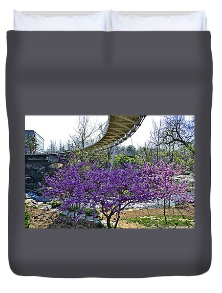 A Bridge To Spring Duvet Cover by Larry Bishop