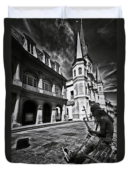 Duvet Cover featuring the photograph A Buck At A Time by Robert McCubbin