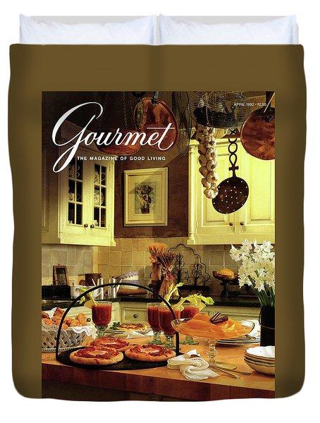A Buffet Brunch Party Duvet Cover by Romulo Yanes