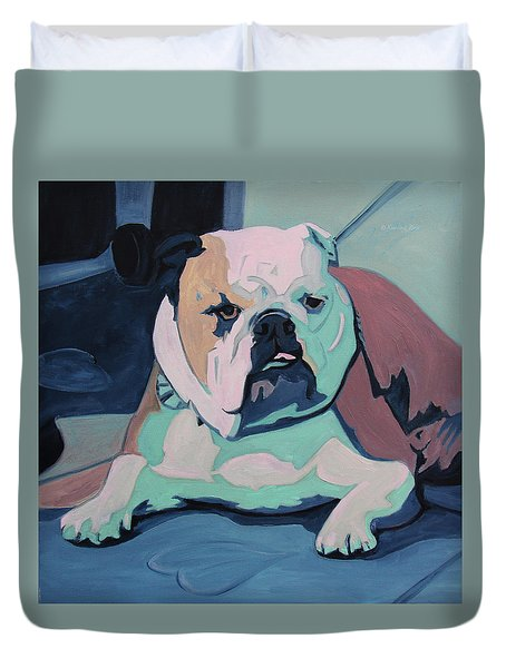 A Bulldog In Love Duvet Cover