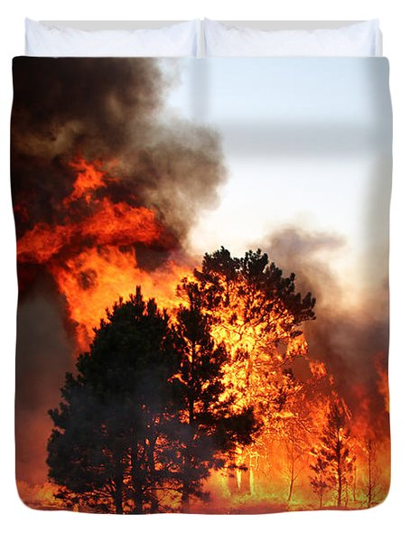Duvet Cover featuring the photograph A Burst Of Flames From The White Draw Fire by Bill Gabbert