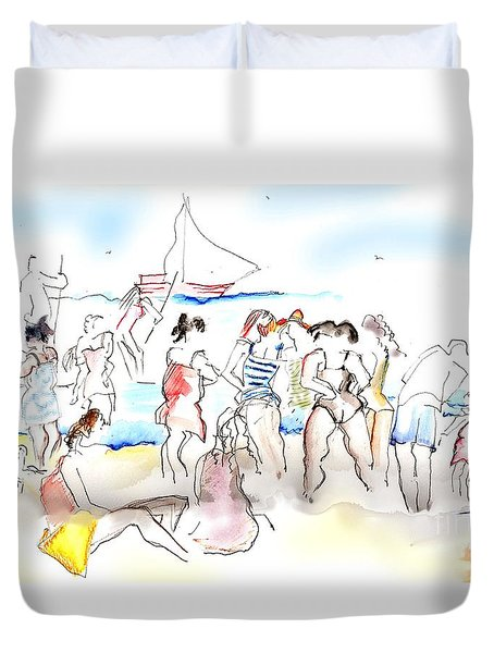 A Busy Day At The Beach Duvet Cover