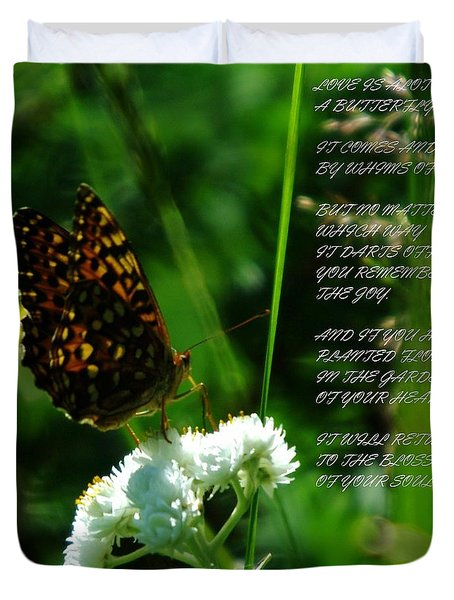 A Butterfly Poem About Love Duvet Cover by Jeff Swan