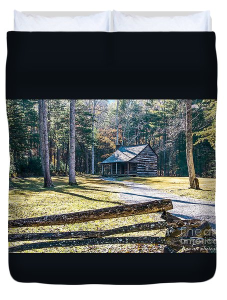 A Cabin In Cades Cove Duvet Cover by Marilyn Carlyle Greiner