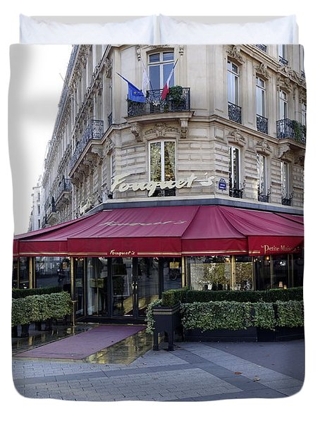 A Cafe On The Champs Elysees In Paris France Duvet Cover