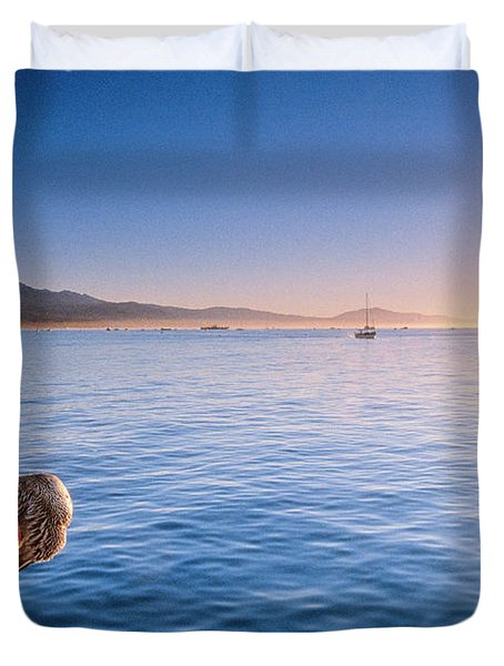 A California Brown Pelican Perches Duvet Cover
