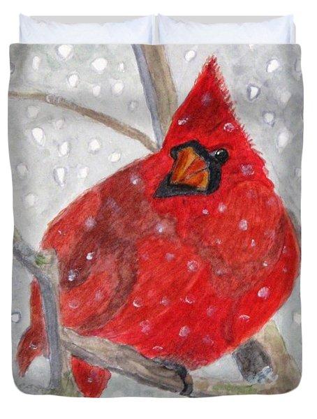 A Cardinal Winter Duvet Cover