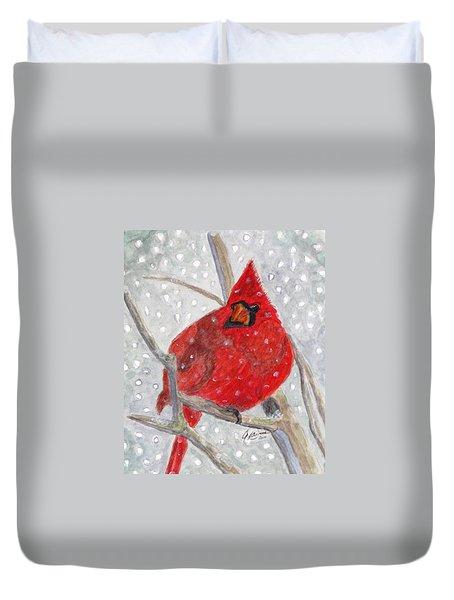 A Cardinal Winter Duvet Cover by Angela Davies
