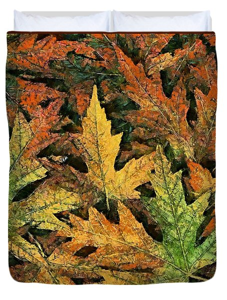 Duvet Cover featuring the painting A Carpet Of  Falling Leaves by Dragica  Micki Fortuna