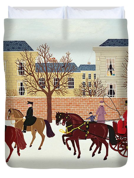 A Carriage Escorted By Police Duvet Cover by Vincent Haddelsey