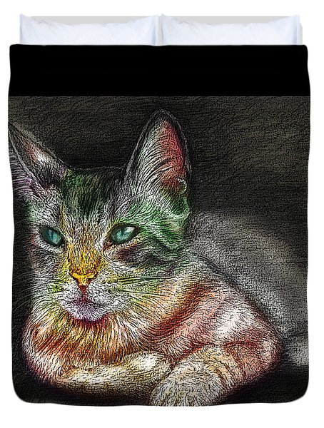Savanna Cat  Duvet Cover by Remy Francis