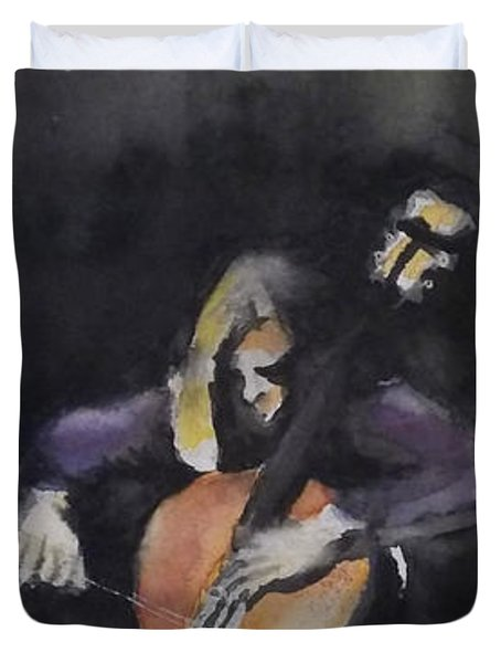 A Cellist Duvet Cover by Yoshiko Mishina